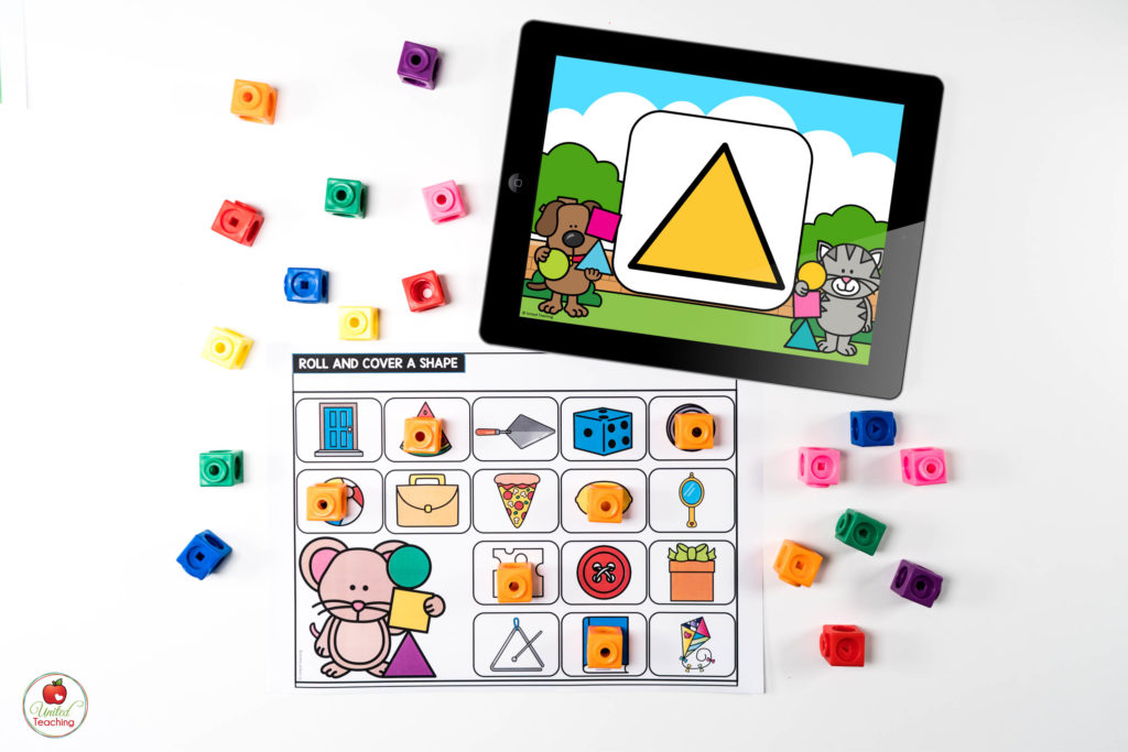 2D Shapes Math Center with Digital Dice