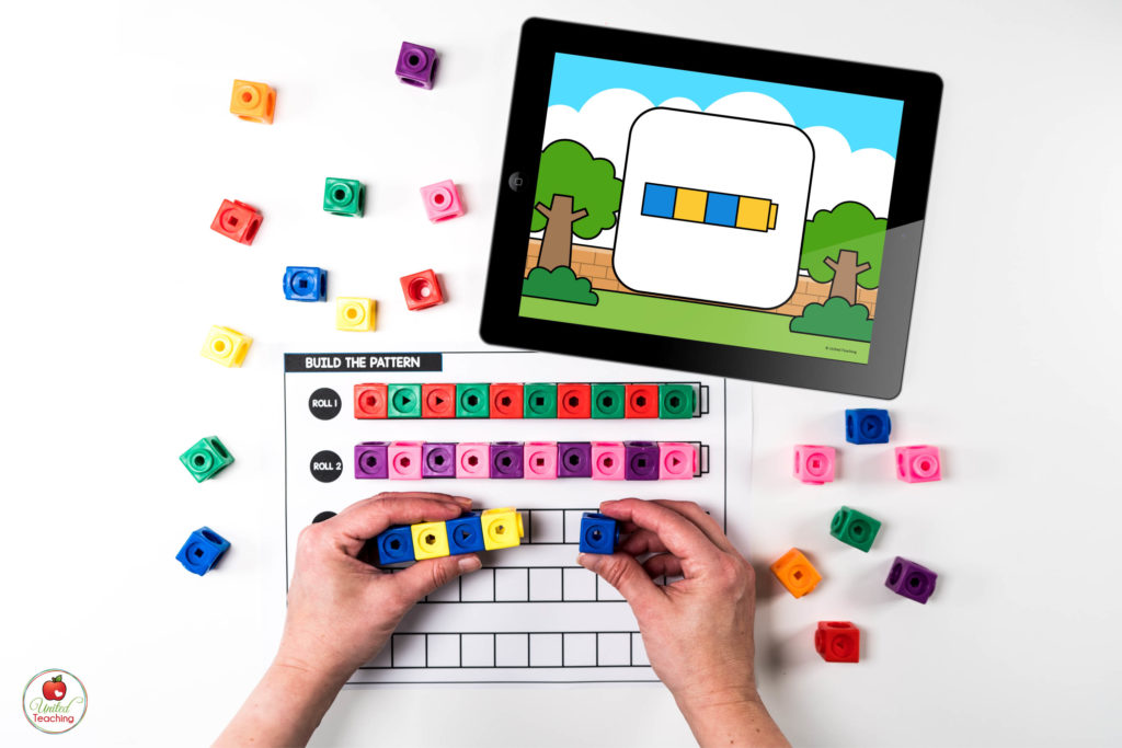 ABAB Patterns Math Center with Digital Dice