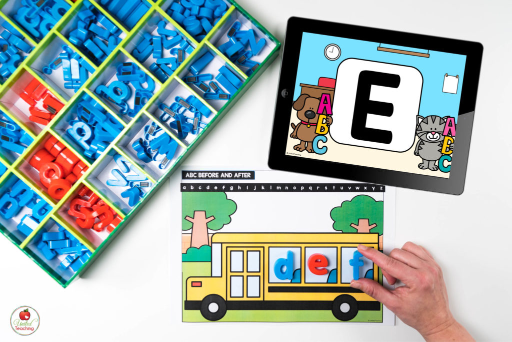 ABC Order Literacy Center with Digital Dice