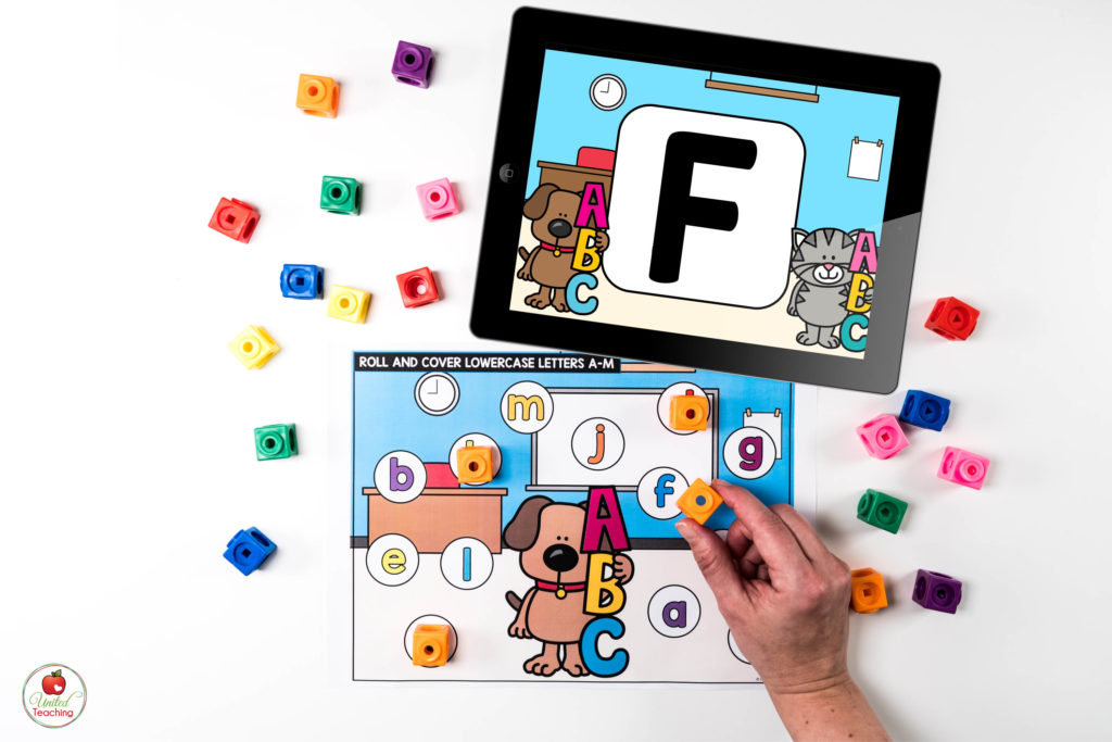 Alphabet Letter Recognition Literacy Center with Digital Dice