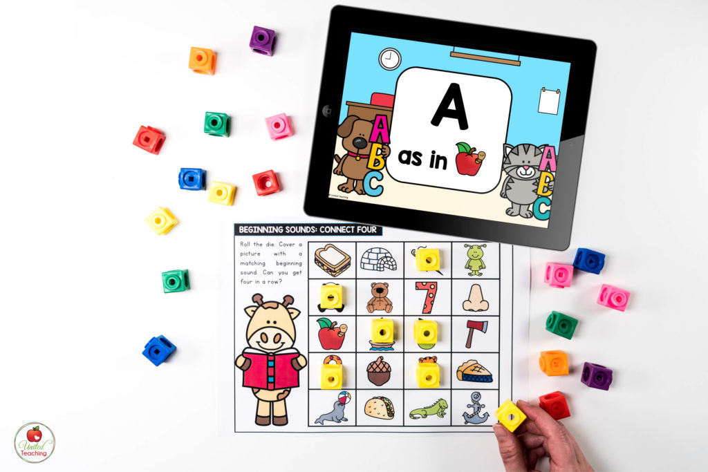 Beginning Sounds Activity with Digital Dice