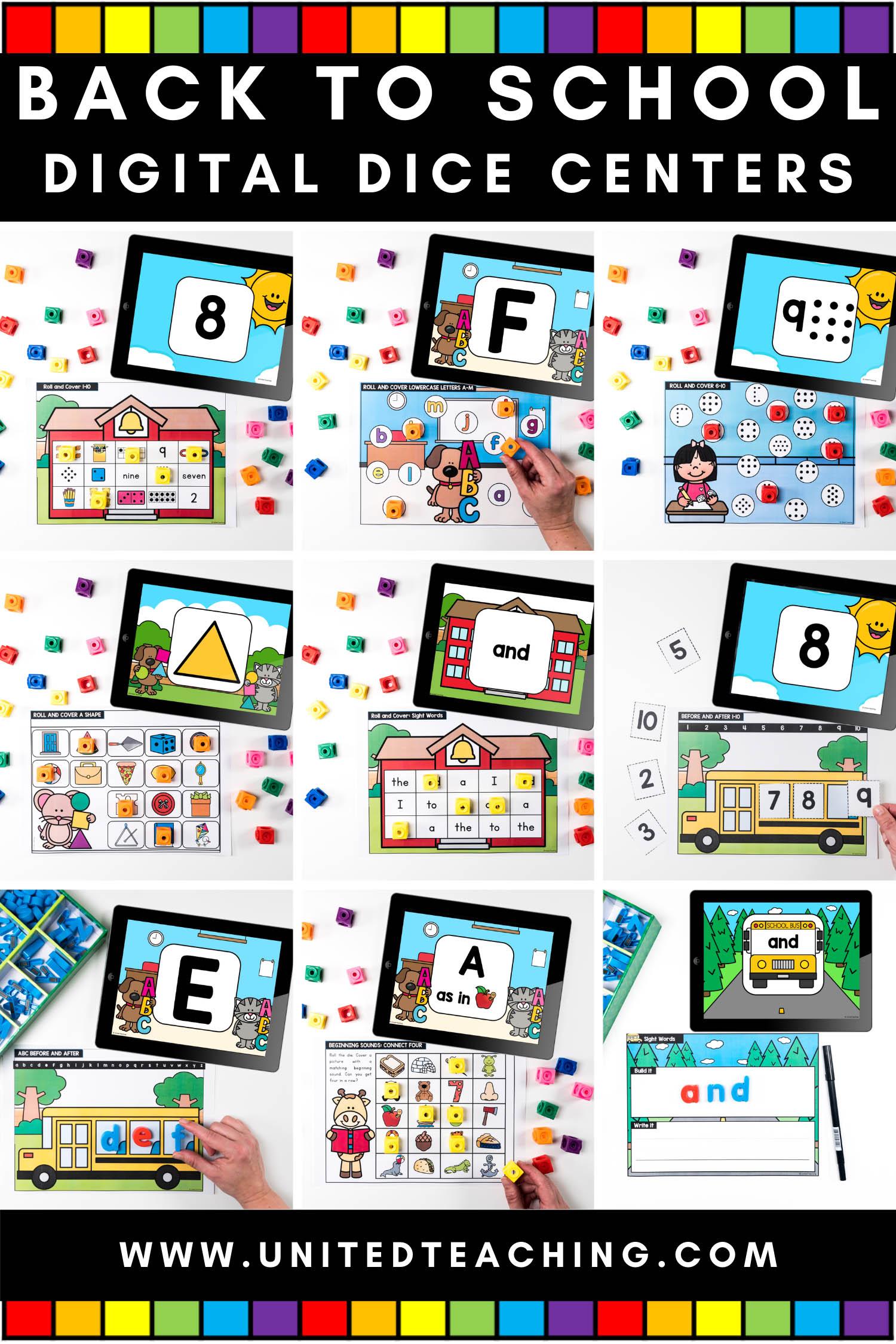 Back to School Digital Dice Centers for Kindergarten