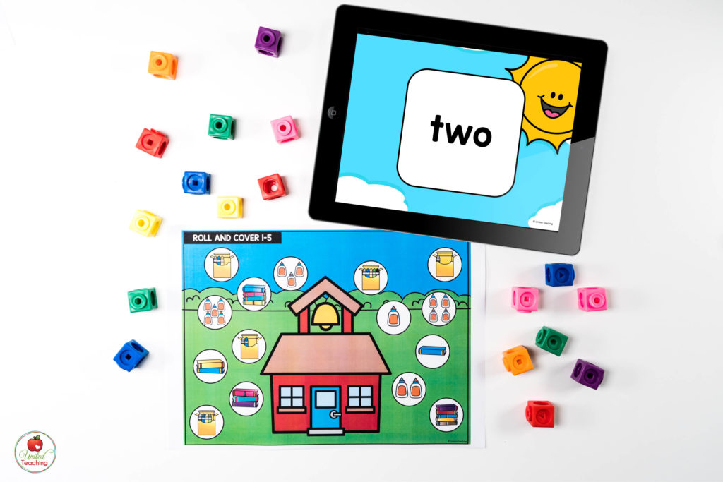 Numbers and Counting Digital Dice Math Center with number words dice