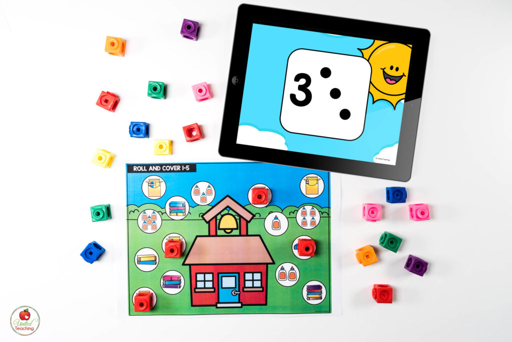 Numbers and Counting Digital Dice Math Center with numeral and subitizing dots dice