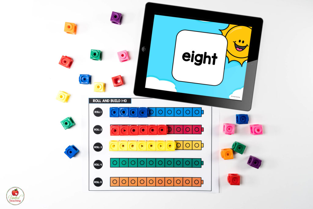 Counting Towers Math Center with Digital Dice