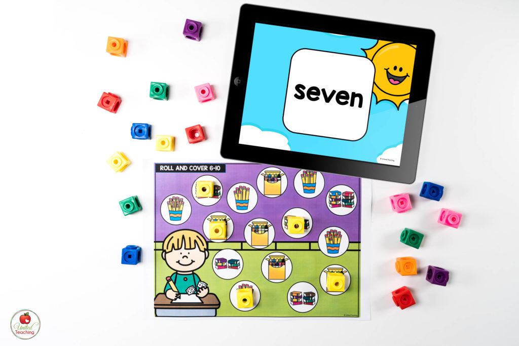 Counting to 10 Math Center with Digital Dice