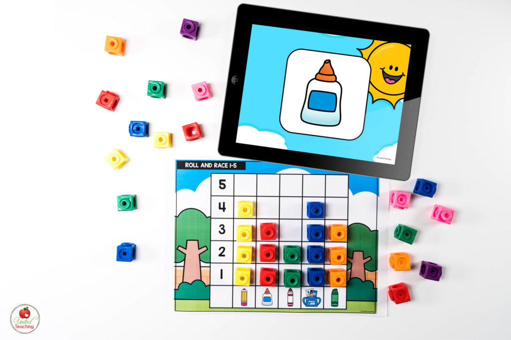 Back to School Graphing Math Center with Digital Dice