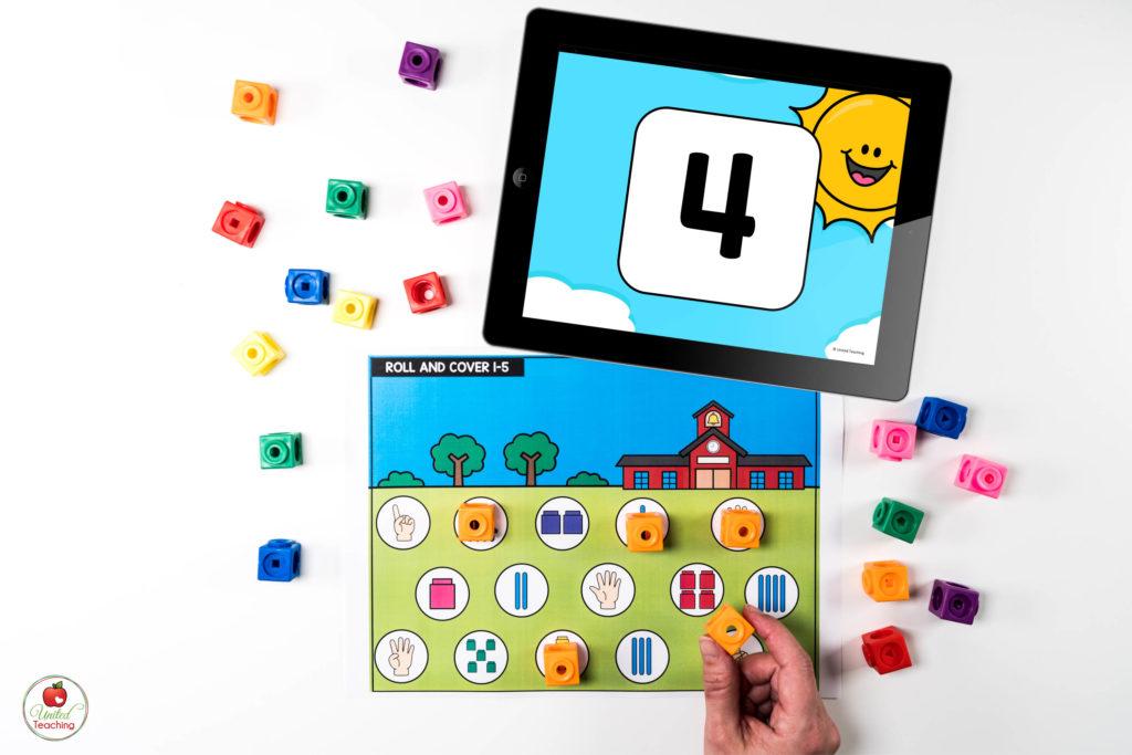 Number Sense Math Center with Digital Dice