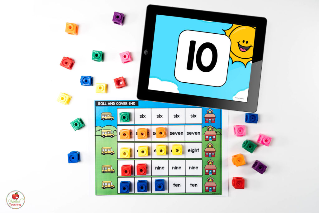 Number Words Math Center with Digital Dice
