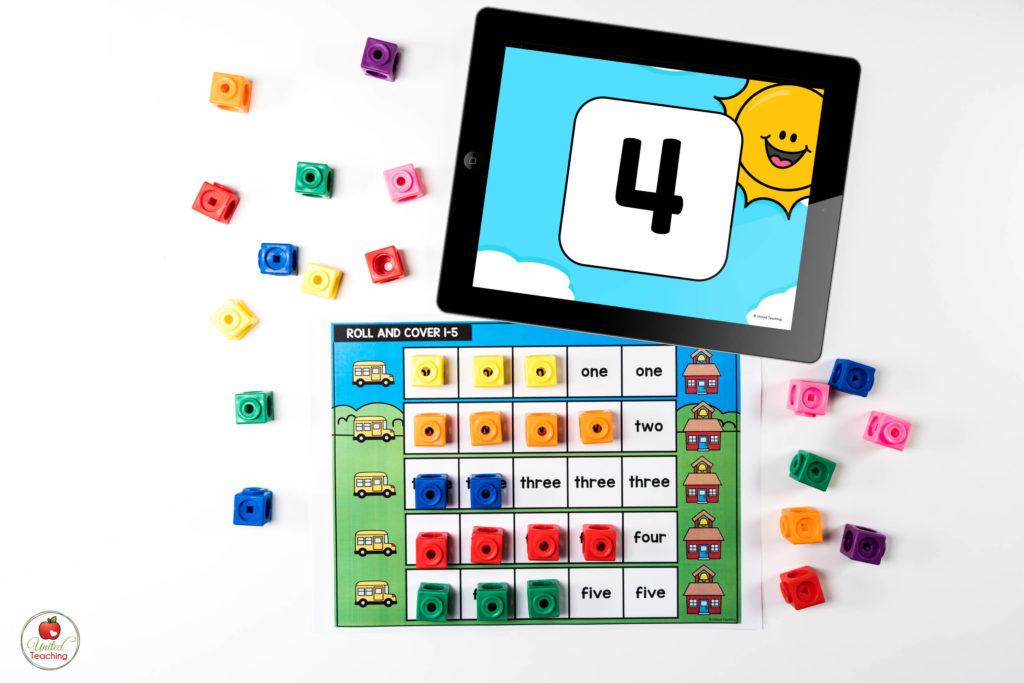 Number Words Digital Dice Math Center