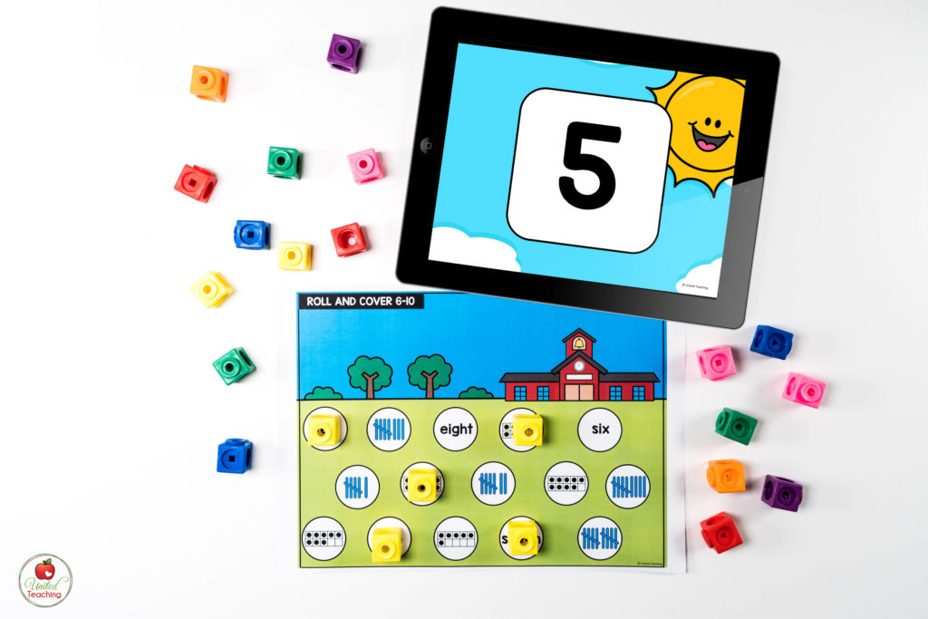 Number Sense for Numbers 1-10 Math Center with Digital Dice