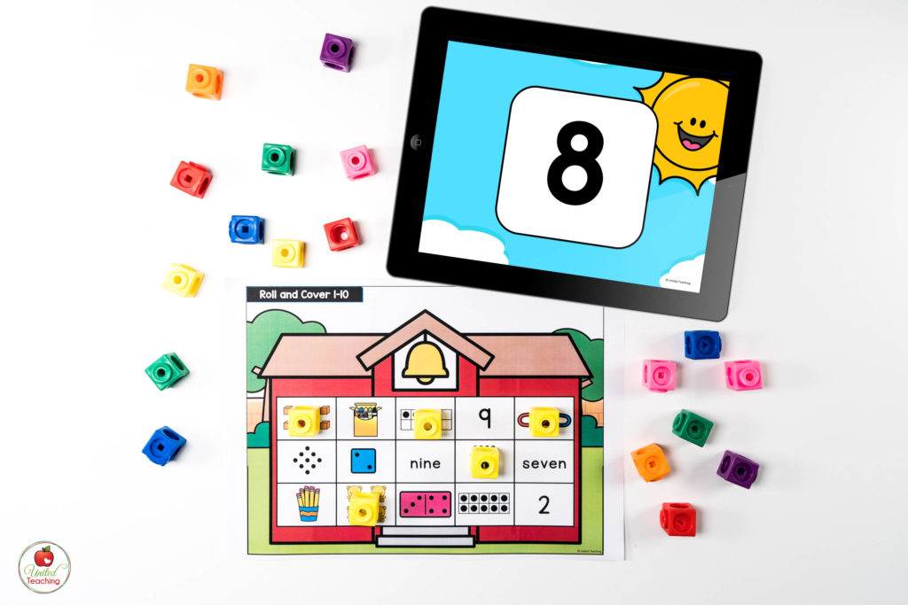 Numbers and Counting to 10 Math Center with Digital Dice