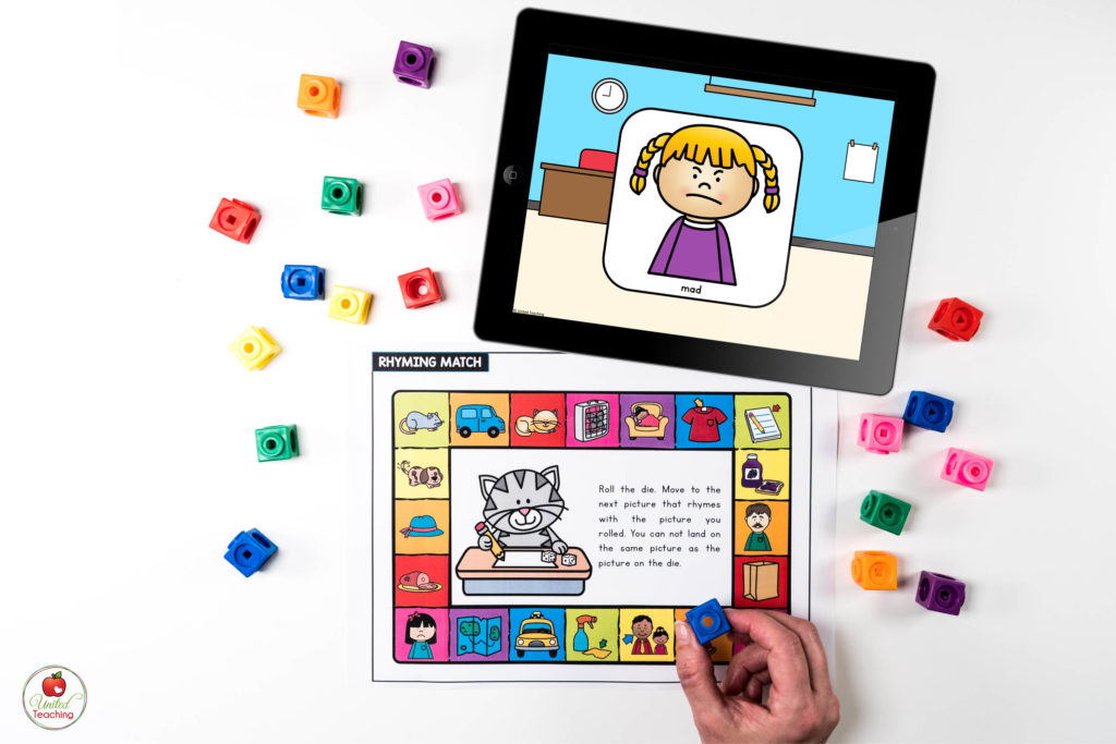 Rhyming Words Game with Digital Dice