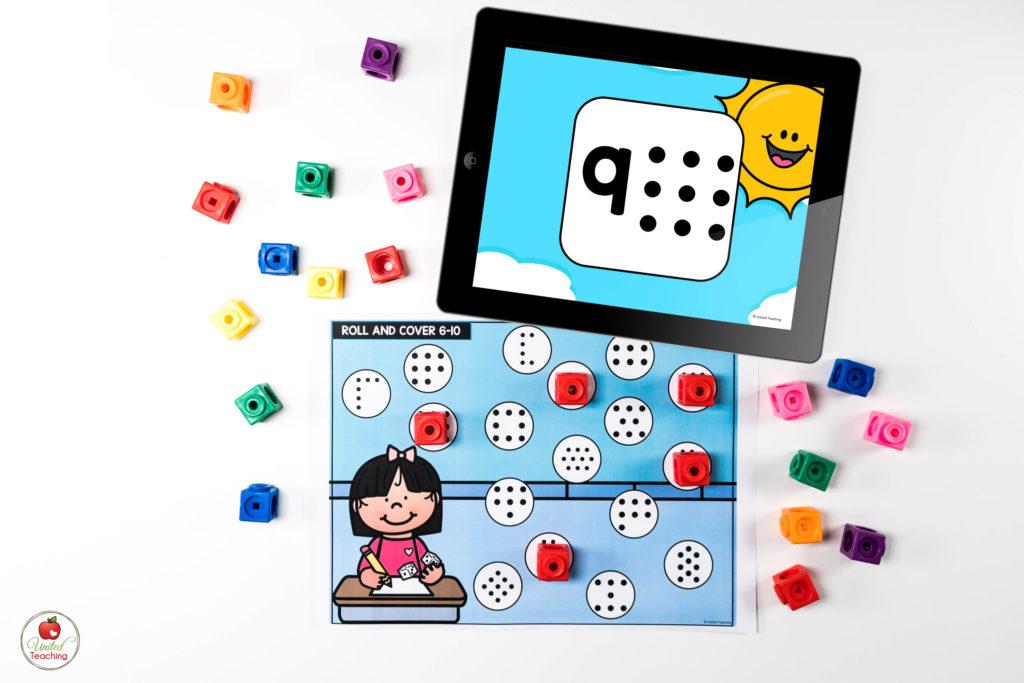 Subitizing Math Center with Digital Dice