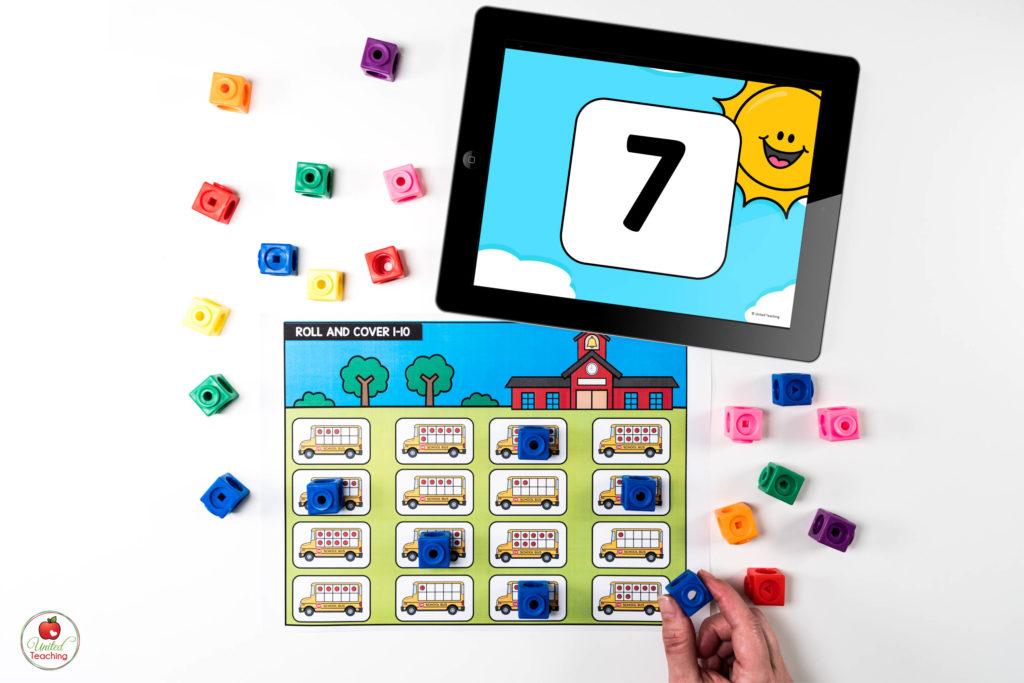 Ten Frames Math Center with Digital Dice